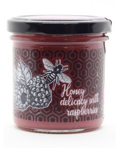 Honey delicacy with raspberries